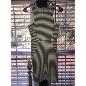 Beige and white striped dress